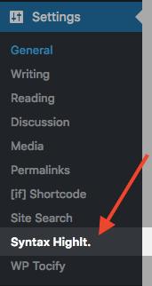 WP Syntax Highlight - Settings