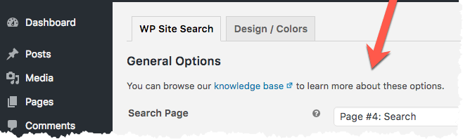 WP Site Search 'Page'