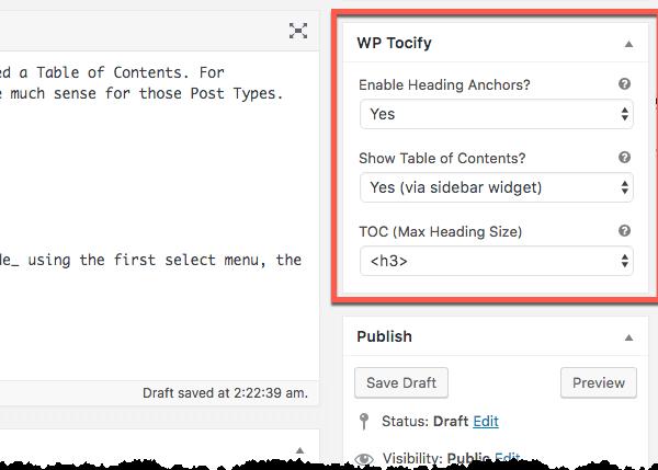 WP Tocify - Meta Box