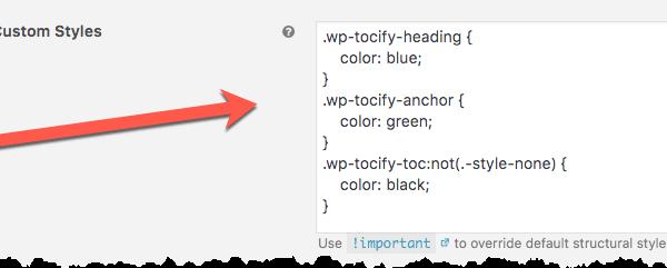 WP Tocify - Custom CSS / Styles