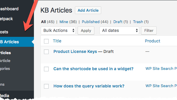 WooCommerce KB Articles - Post Type
