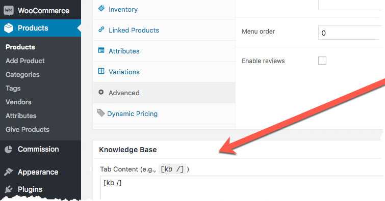 Knowledge Base Product Tab Configuration