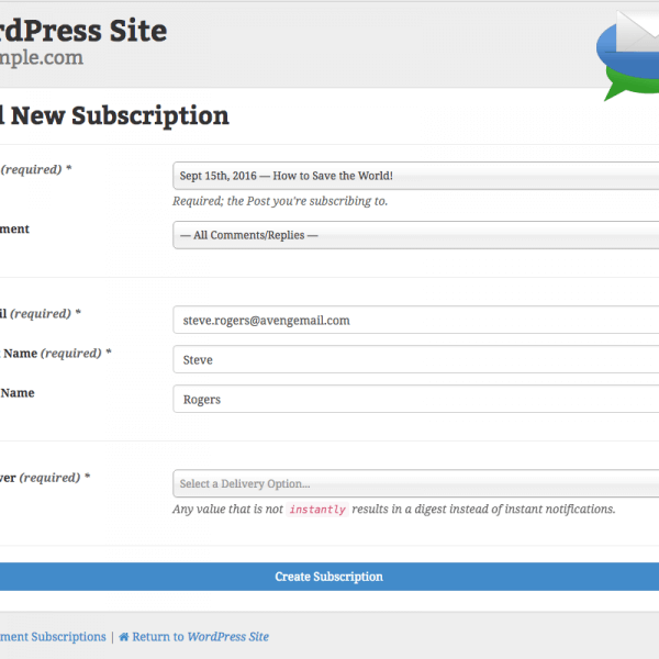 Comment Mail : Add New Subscription