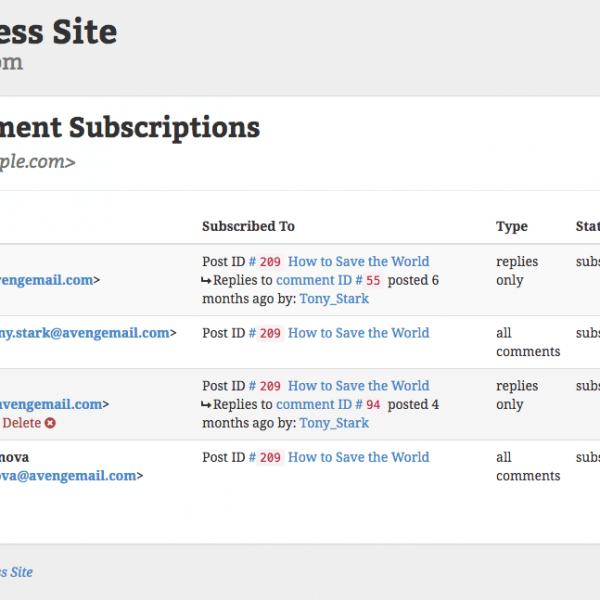 Comment Mail - My Comment Subscriptions