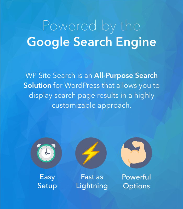 WP Site Search - Powered by Google CSE