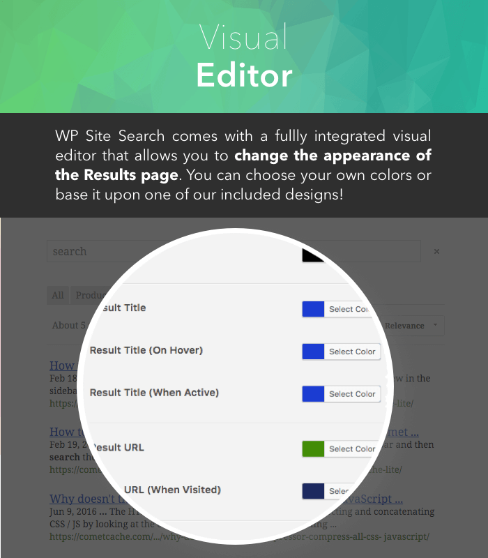 WP Site Search - Visual Editor