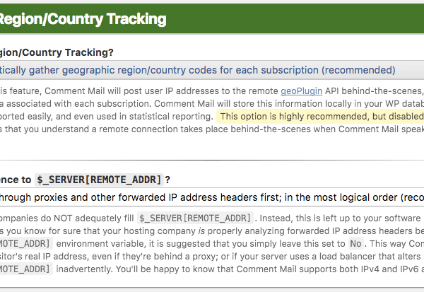 Geo IP Region/Country Tracking