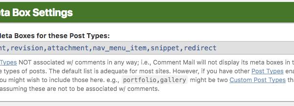 Post Meta Box Settings