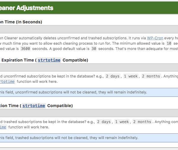 Sub. Cleaner Adjustments