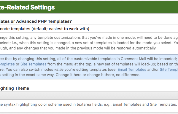 Template-Related Settings