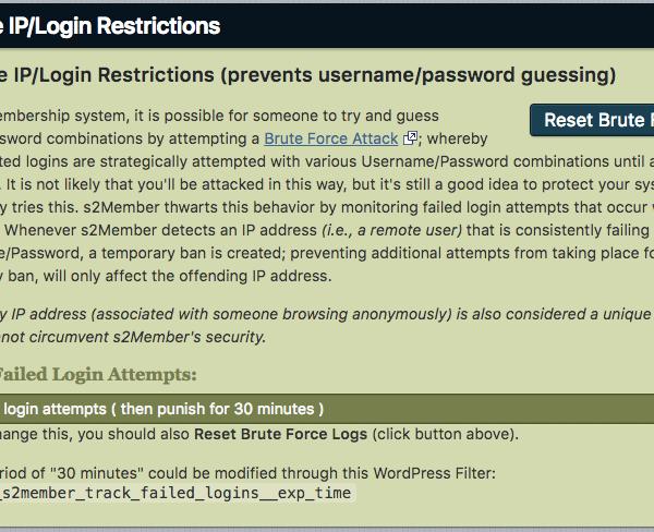 s2Member | Brute Force/IP Login Restrictions