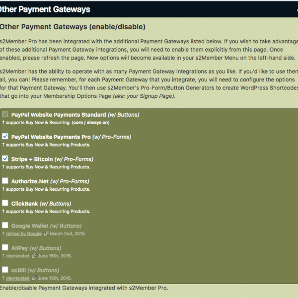 s2Member | Other Payment Gateways