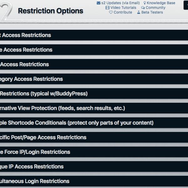 s2Member | Restriction Options