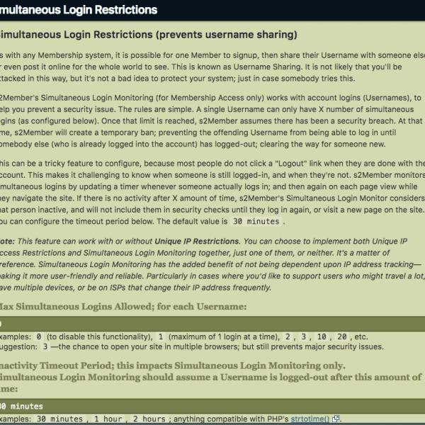 s2Member | Simultaneous Login Restrictions