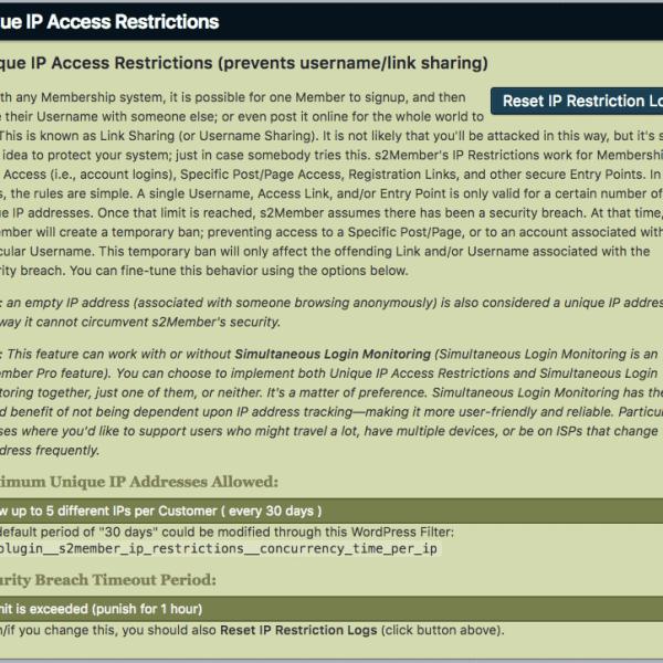 s2Member | Unique IP Access Restrictions